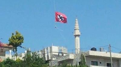 Palestinos colocam bandeira nazista sobre mesquita perto de Hebrom