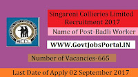 Singareni Collieries Limited Recruitment 2017– 665 Badli Worker