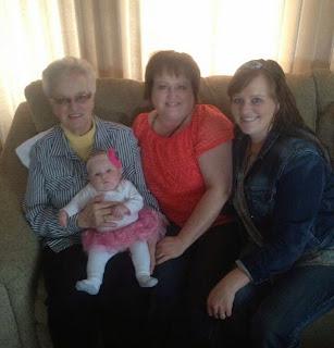 Photo of Four Generations: MariannePodruchny (Minot), Brenda Novodvorsky (Douglas),