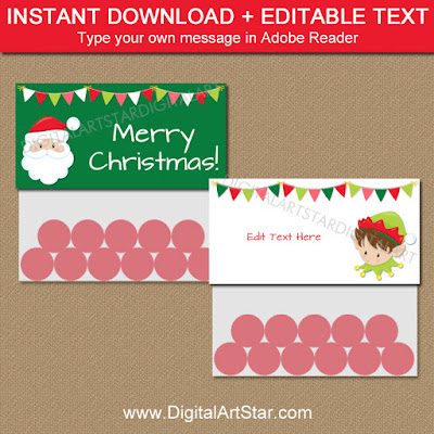 Santa and Elf Bag Toppers - downloadable pdf file