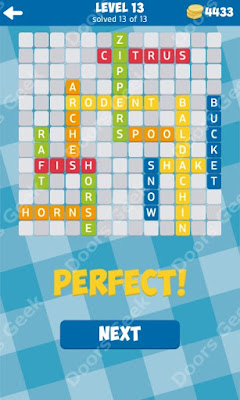 Cheats, Solutions for Level 13 in 13 Word Connect by Second Gear Games