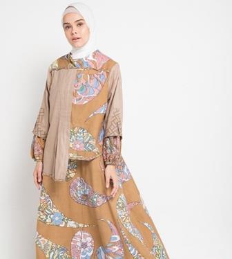 Gamis Batik Kombinasi Polos Modern Dan Elegan