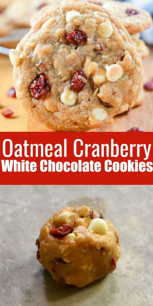 Oatmeal Cranberry White Chocolate Chip Cookies are a favorite Oatmeal Cookie combo! With craisins, white chocolate chips, and brown butter these are a favorite Christmas cookie and year around from Serena Bakes Simply From Scratch.