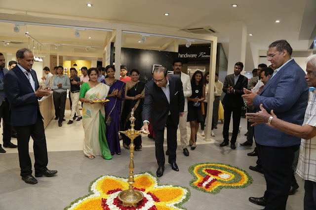 Mr. Sandip Somany, VCMD, HSIL Limited Lighting the Lamp at the Inaugration of the First Premiere Store in Bangalore-min