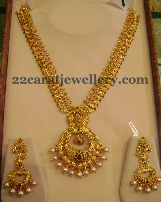 Mango Necklace With Chandbali Locket Jewellery Designs