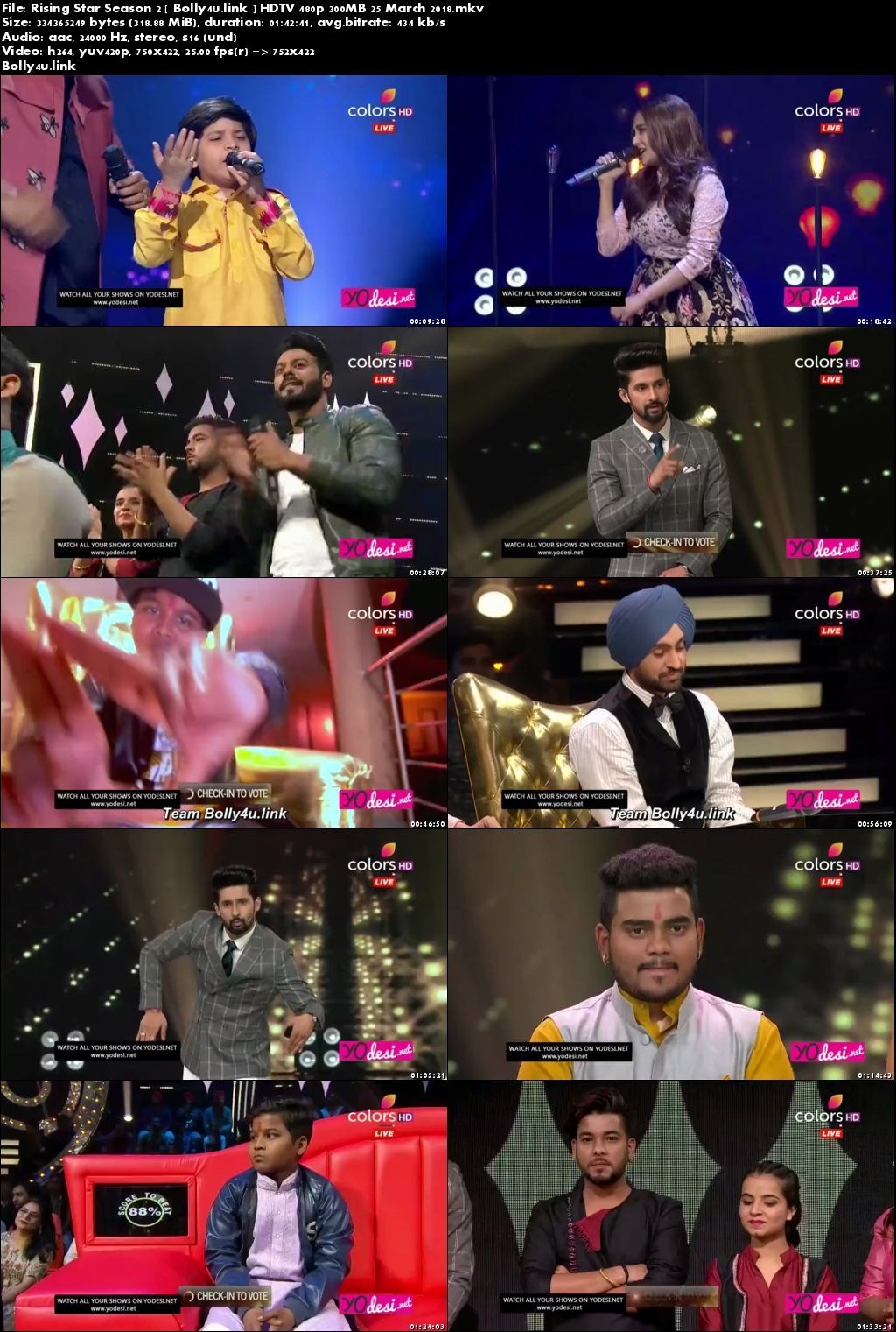 Rising Star Season 2 HDTV 480p 300MB 25 March 2018 Download
