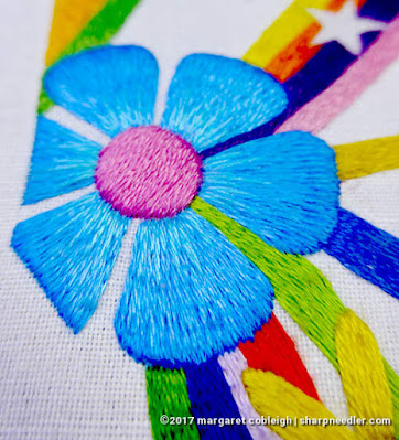 SFSNAD Flower Power Challenge: Bold blue thread painted daisy