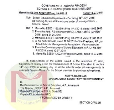 Govt Memo : Cancellation of Compensation 4 working days and declaring 14th July 2018 only as working day