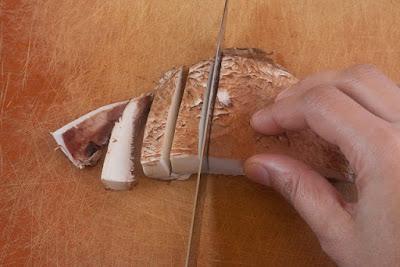 Slice portobello width wise