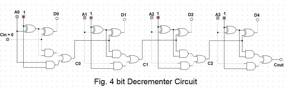 Let's Learn Computing: 4 bit Binary Decrementer