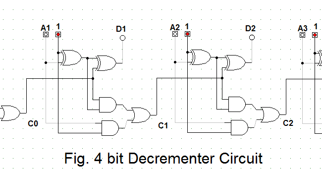 Let's Learn Computing: 4 bit Binary Decrementer