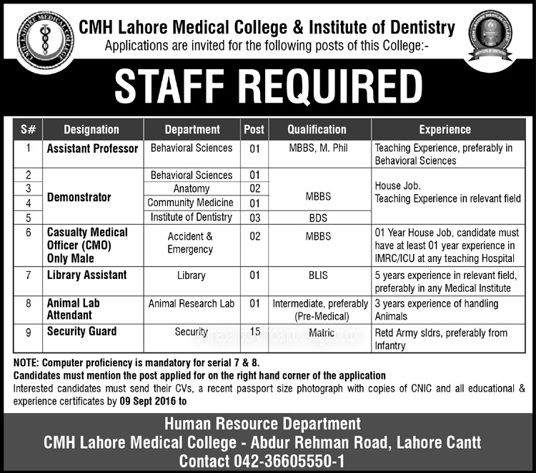 Cmh Lahore Medical College & Institute Of Dentistry Lahore jobs