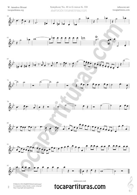 2  Symphony Nº40 de Mozart Sheet Music for Oboe Tabs Music Scores