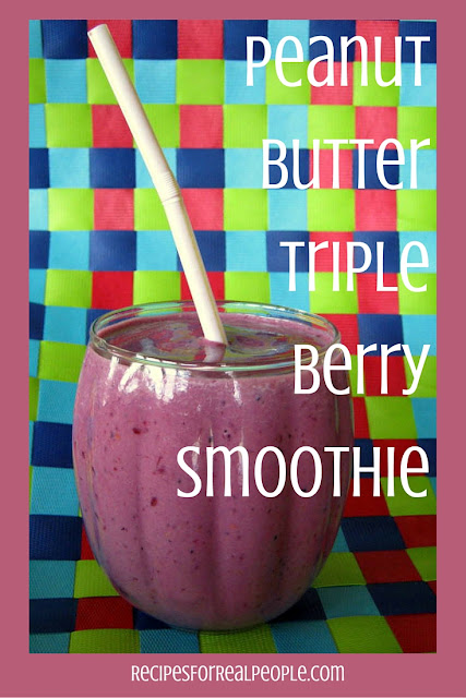 This Peanut Butter Triple Berry Smoothie recipe reminds me of a PB&J sandwich with a glass of cold milk. Minus the bread. Great breakfast or snack!
