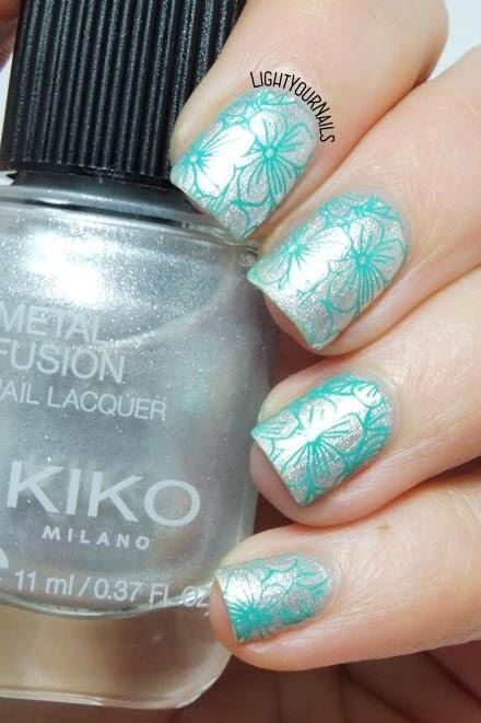 Silver and teal flowers stamping feat. Kiko Metal Fusion 04 Platinum Rain and BeautyBigBang XL-023 plate #metallicnails #kikonails #kikocosmetics #kikotrendsetter #lightyournails #beautybigbang #nailstamping #nailart
