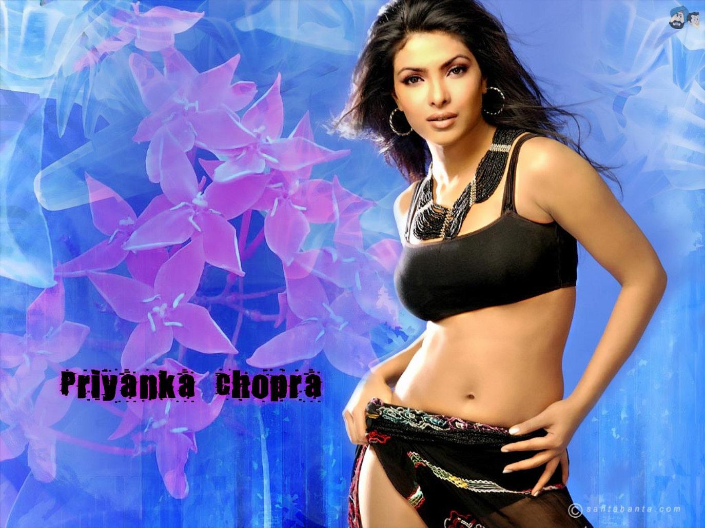 Priyanka Chopra Black Bikini Hot Wallpaper