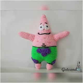 patron amigurumi Patricio Estrella de bob esponja gateando crochet