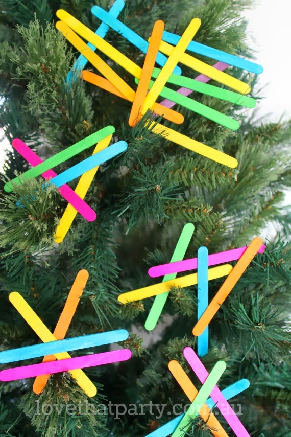 Simple Kid's Christmas Craft: Neon Geometric Christmas Tree Decorations. www.lovethatparty.com.au