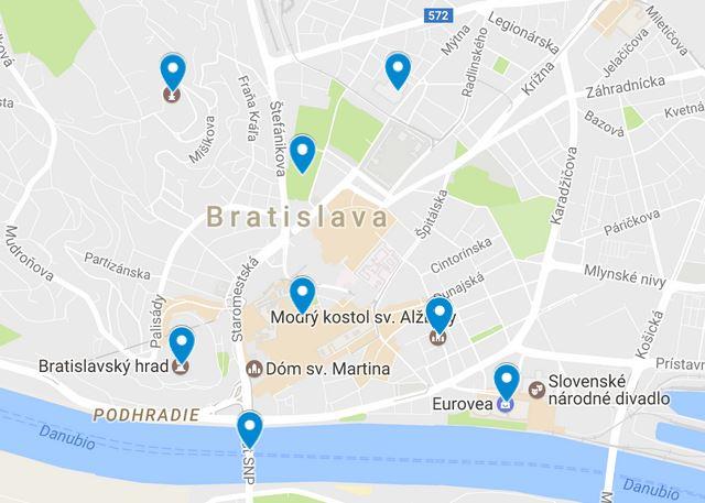 mapa con puntos para visitar en Bratislava