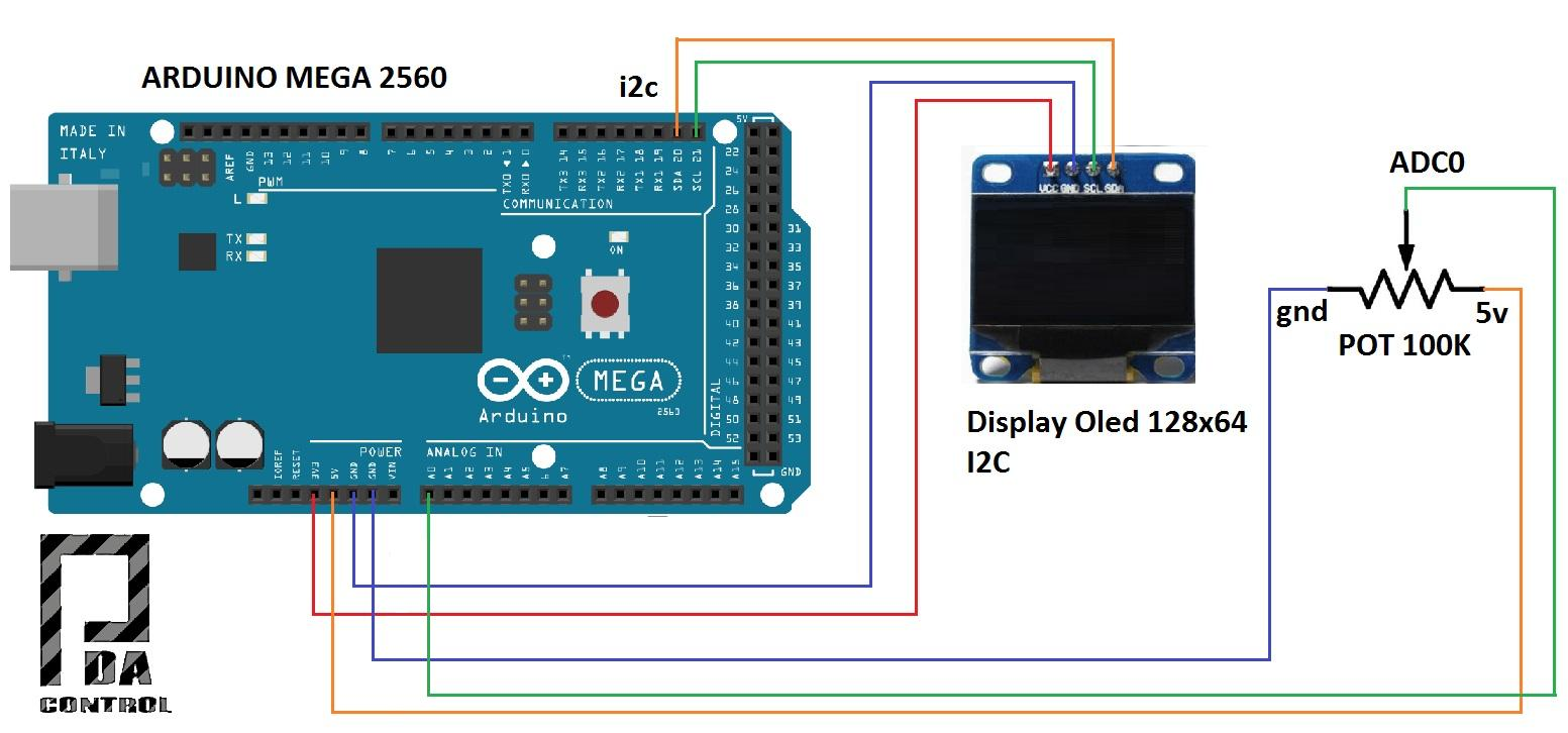 Arduino mega display oled i c modbus maestro rtu