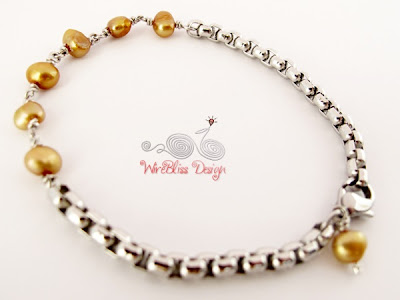Wire Wrapped Minima Bracelet (Minlet) with Gold pearl