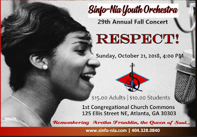 Sinfo-Nia Youth Orchestra s 2018 Fall Concert: Tribute to Aretha Franklin -  Respect  Oct. 21, 4 PM
