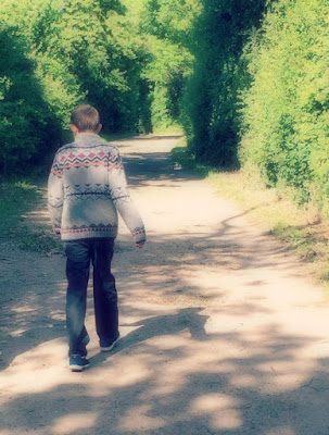 5 Reasons Why Tweens are like Toddlers | Morgan's Milieu: picture of a tween boy walking along a path in a wooded area.
