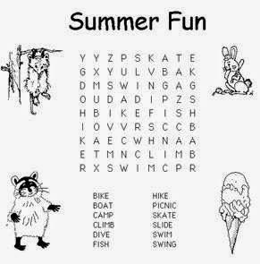 Free Summer Word Search For Kids