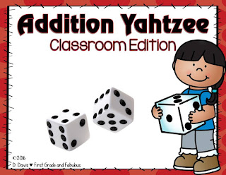 Addtion Yahtzee-First Grade and Fabulous