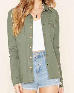 forever21 snap-button cotton jacket