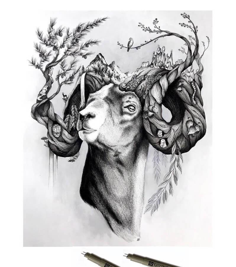 06-Ram-1-Alyse-Dietel-Animal-Drawings-Surrealism-www-designstack-co