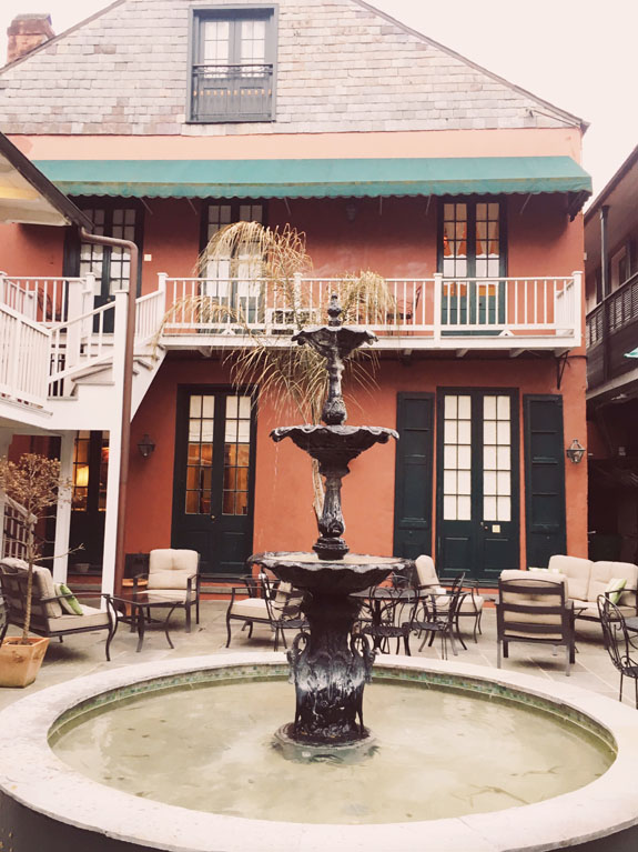 Where to Stay in New Orleans Hotel Maison de Ville courtyard
