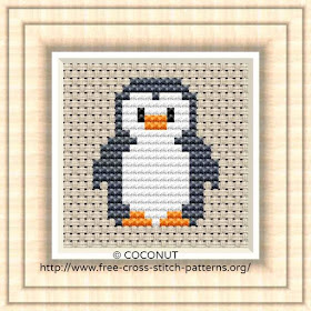Penguin 2, Free and easy printable cross stitch pattern