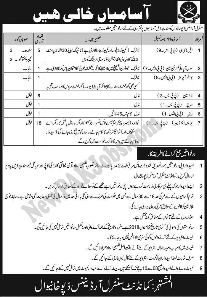 Organization:  Defence  Location:  Pakistan  Posted on:  27 May 2018  Category:  Government  Last Date:  12 June 2018  Website/Email:  N/A  Total  Vacancies:  33  Qualification:  Matric, Middle, Primary  How to Apply:  Mentioned in Newspaper ad