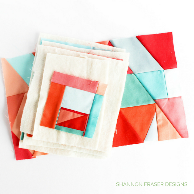 100-day Modern Improv Quilting | Shannon Fraser Designs | Creative Challenge | Color Blocking | Kona Cotton | Bold Color | Hand Quilting