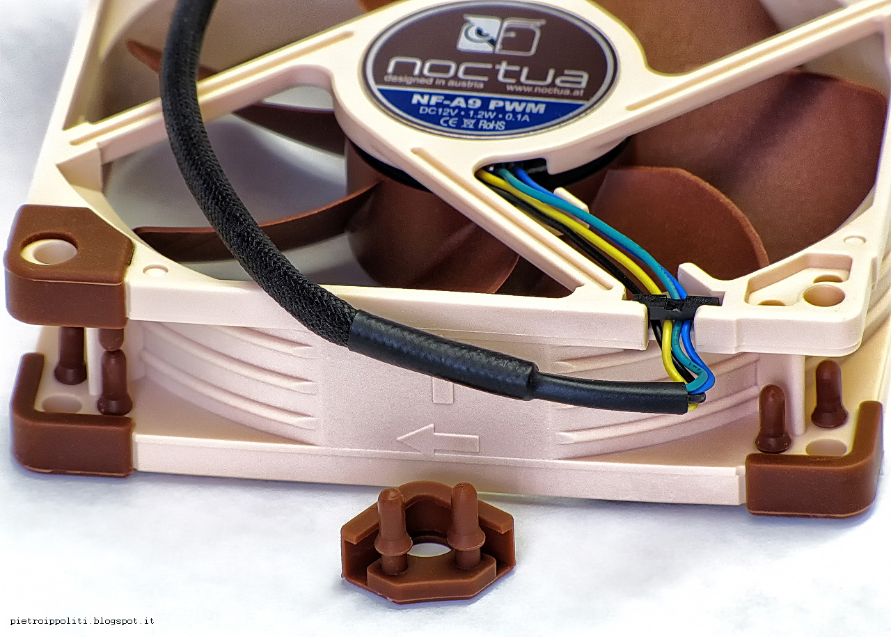 Noctua NF-A9 PWM, cable sleeving and pads