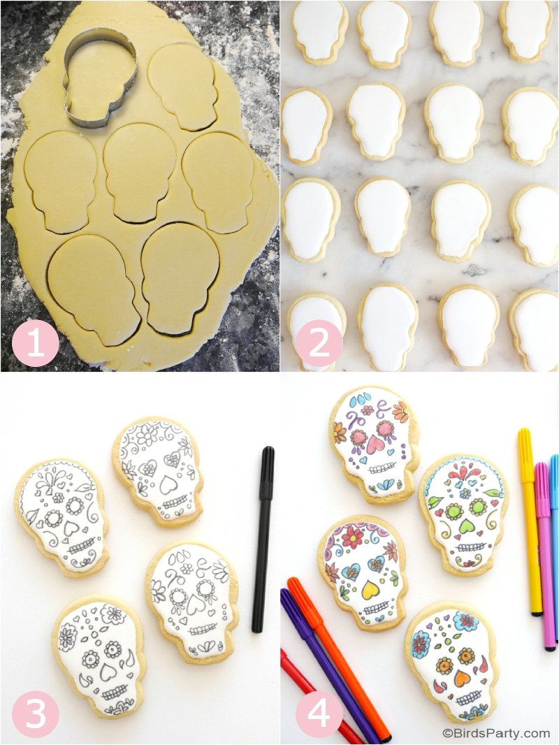 Sugar Skull Cookies Recipe - easy to make and decorate , these delicious, pretty cookies are perfect for a Dia de Los Muertos or Day of The Dead party! by BirdsParty.com @birdsparty #skullcookies #sugarkulls #diadelosmuertos #dayofthedead #decoratedcookies #skullsugarcookies