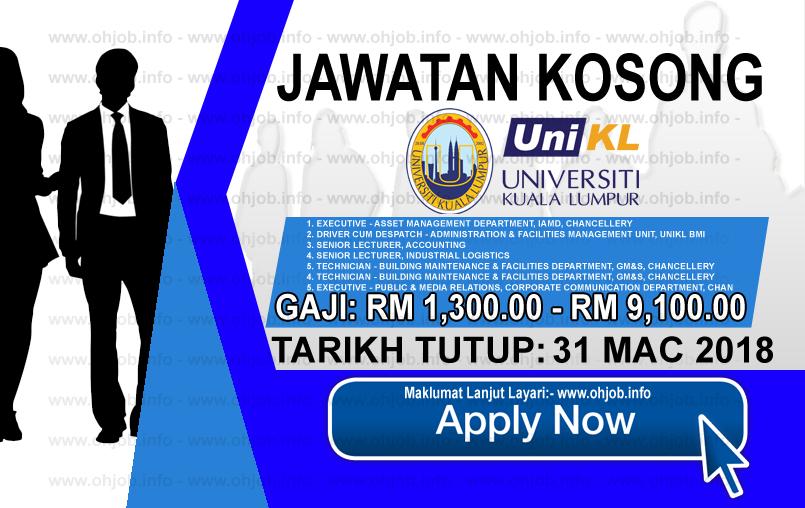 Jawatan Kerja Kosong UniKL - Universiti Kuala Lumpur logo www.ohjob.info mac 2018