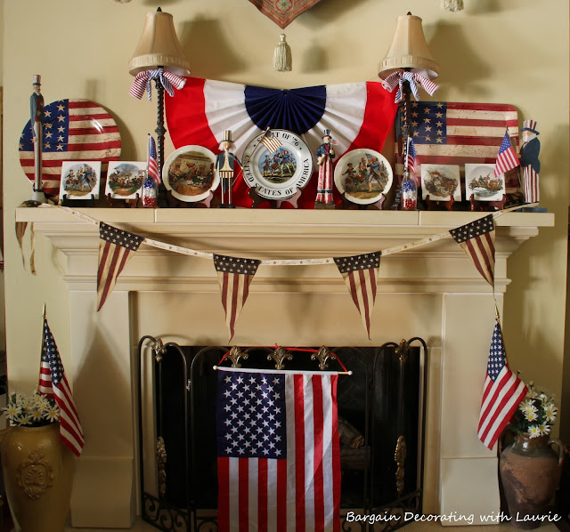 Red White & Blue Mantel-Bargain Decorating with Laurie