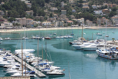 Marina and beach of Port de Sóller in Mallorca