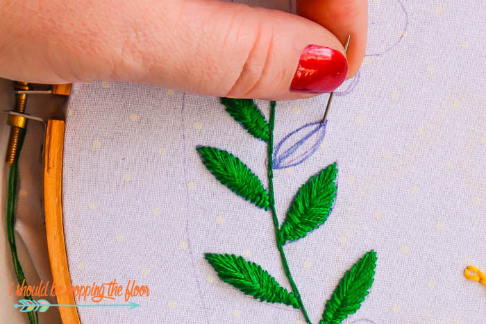 Embroidering Leaves and Flowers