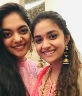 Keerthy Suresh in Rose Dress with Cute Smile Latest Selfie