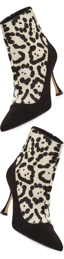 Manolo Blahnik Dolorov Suede & Leopard-Print Calf Hair Booties