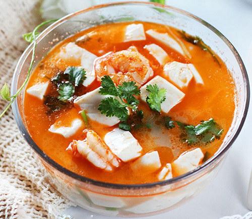 Canh đậu hũ nấu tôm