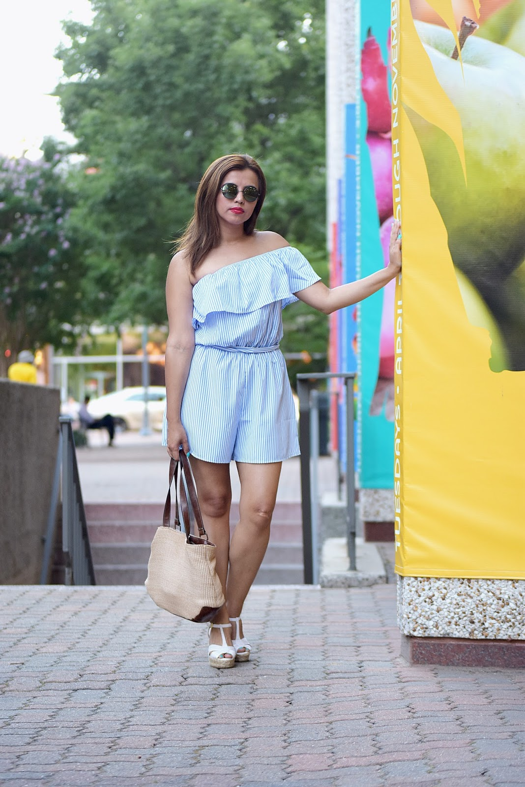 Wearing: Romper: SheIn Wedges: American Eagle Bag: Target