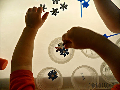 Sorting snowflakes on the light table from And Next Comes L