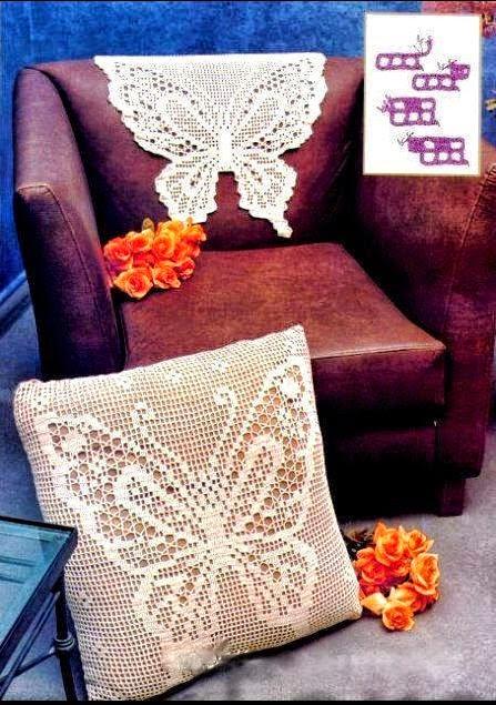 Patrones de mariposa aplicada a tapete y a almohadón