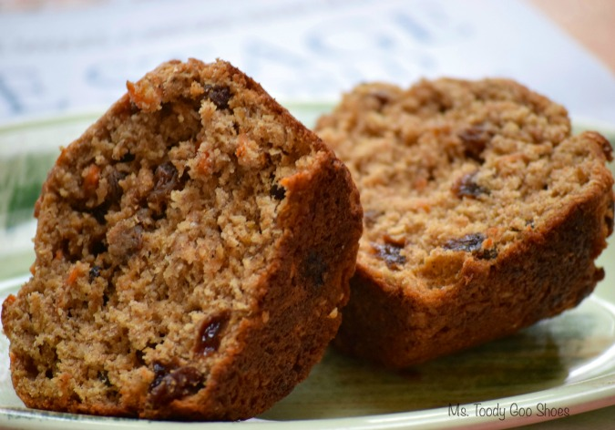 Bran-ana Carrot Muffins -  healthy ingredients... lots of fiber, carrots, banana and yogurt. | Ms. Toody Goo Shoes