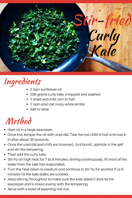 Recipe card - Here is a quick and easy 15 minute recipe that is guaranteed to make curly kale hit the spot even with the most vehement veggie haters.