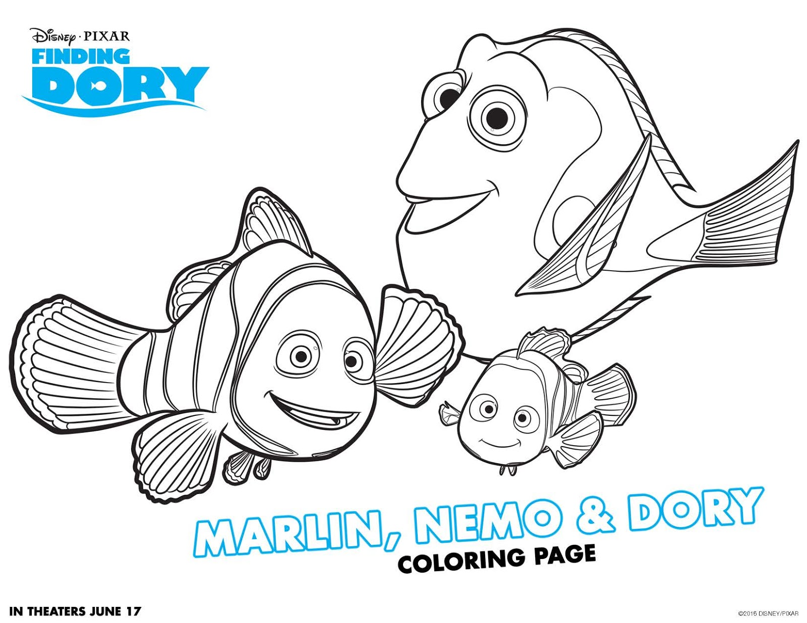 Nemo Y Dory Para Colorear: Be Brave, Keep Going: Free Finding Dory Coloring Pages